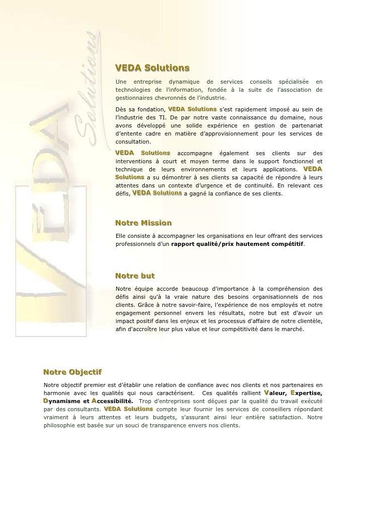 VEDA Solutions                          VEDA Solutions                           Une entreprise dynamique de services cons...