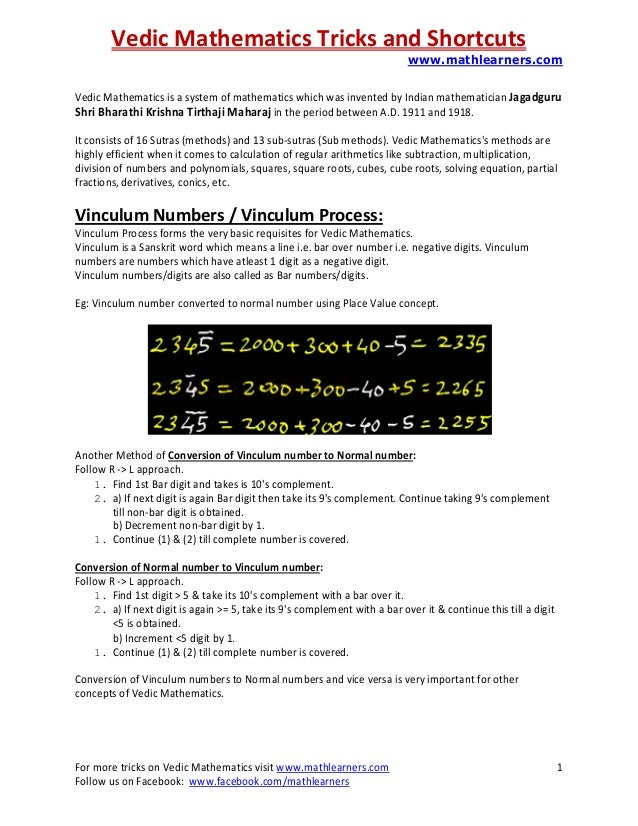 Vedic Mathematics Tricks and Shortcuts www.mathlearners.com For more tricks on Vedic Mathematics visit www.mathlearners.co...