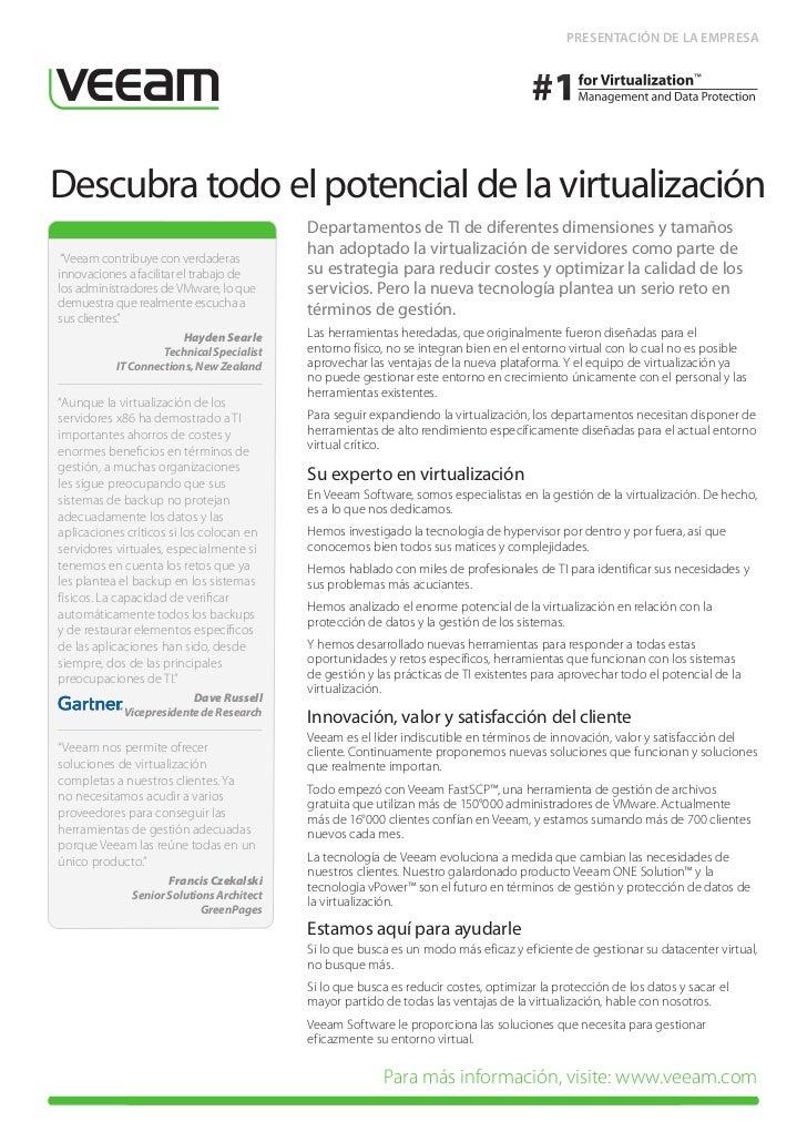 PRESENTACIÓN DE LA EMPRESADescubra todo el potencial de la virtualización                                           Depart...