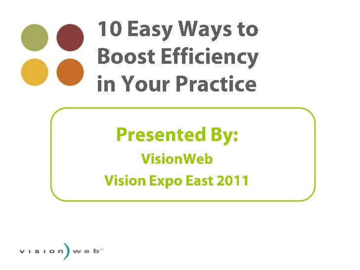 10 Easy Ways to Boost Efficiency in Your Practice<br />Presented By: <br />VisionWeb <br />Vision Expo East 2011<br />