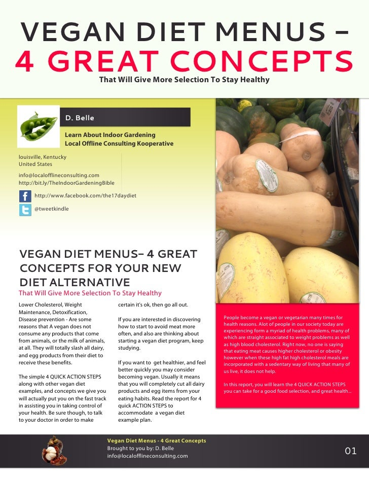 VEGAN DIET MENUS -4 GREAT CONCEPTS                       That Will Give More Selection To Stay Healthy                    ...