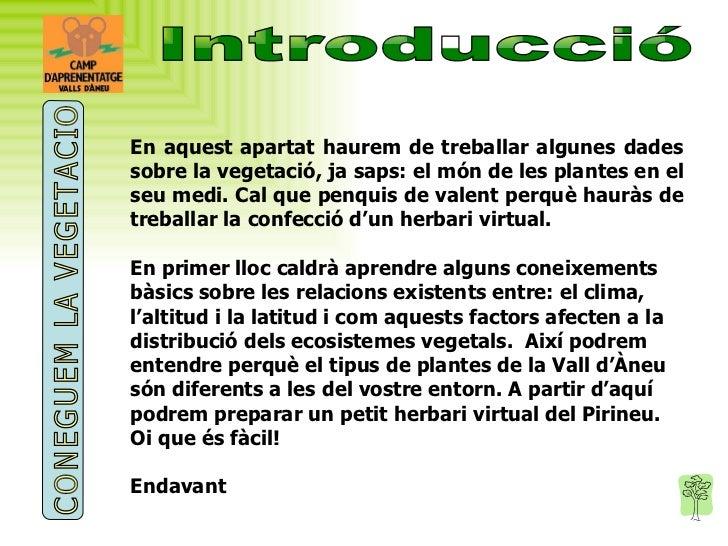Introducció En aquest apartat haurem de treballar algunes dades sobre la vegetació, ja saps: el món de les plantes en el s...