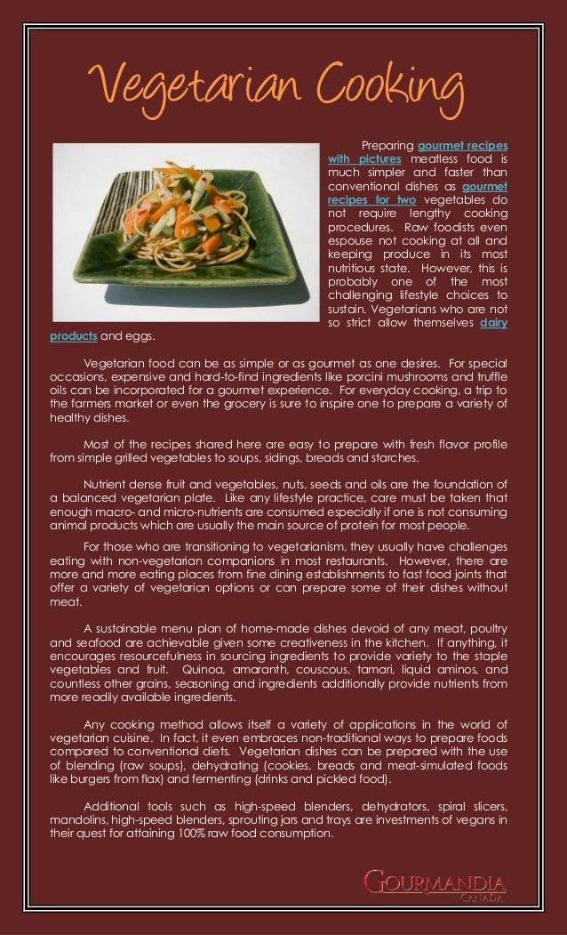 Vegetarian Cooking                                                           Preparing gourmet recipes                    ...