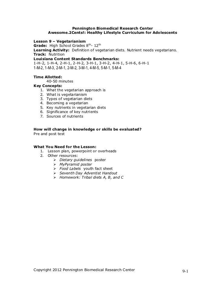 Vegetarianism lesson plan unit 9