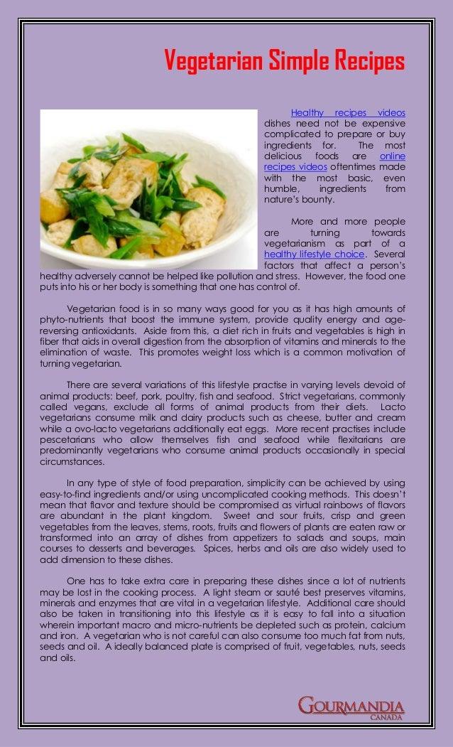 Vegetarian Simple Recipes                                                             Healthy recipes videos              ...