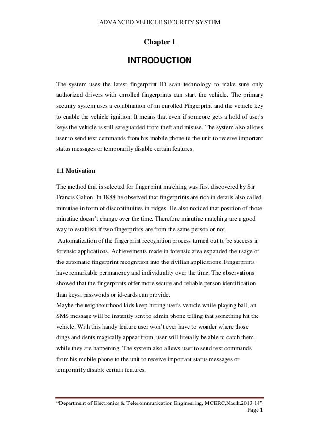 project report on fingerprint based security system pdf