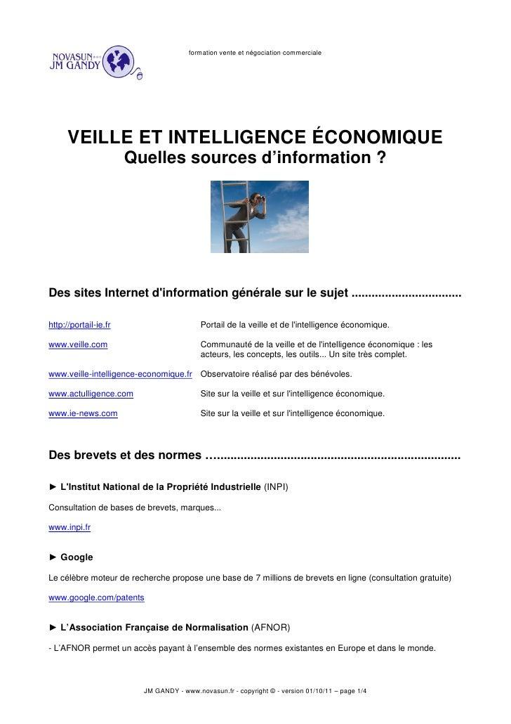formation vente et négociation commerciale      VEILLE ET INTELLIGENCE ÉCONOMIQUE                       Quelles sources d'...