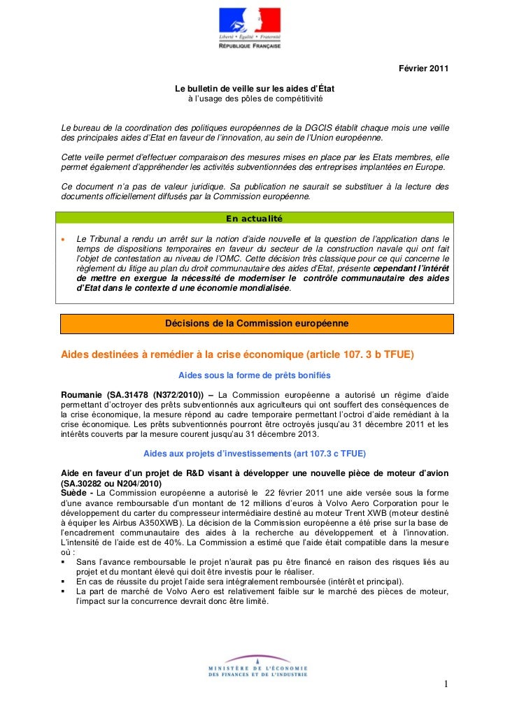 Février 2011                              Le bulletin de veille sur les aides d'État                                 à l'u...