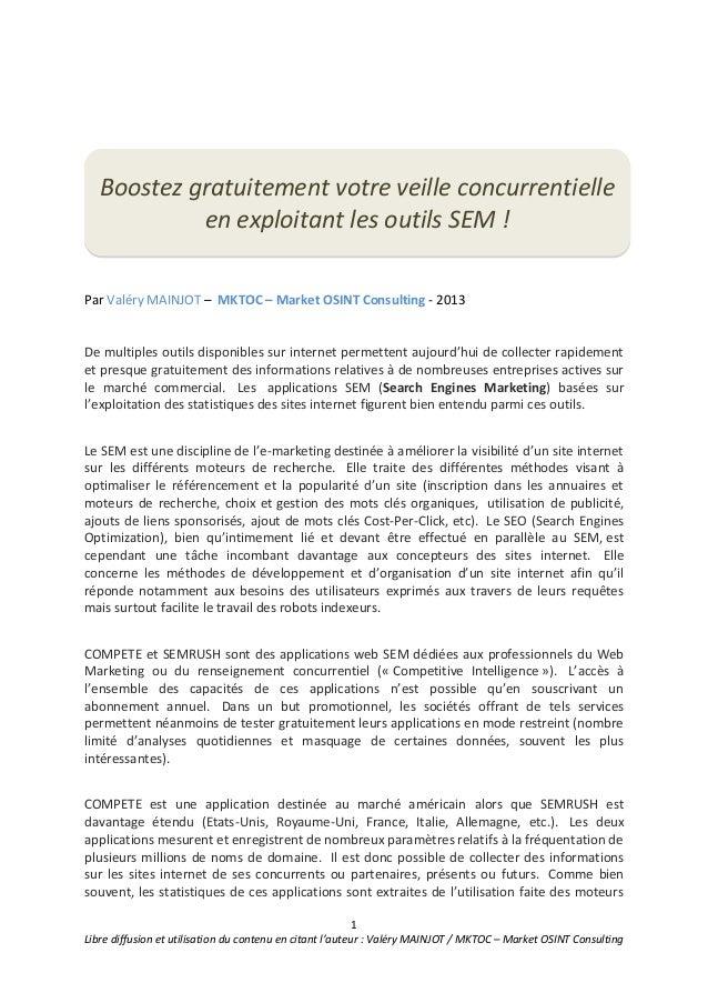 1Libre diffusion et utilisation du contenu en citant l'auteur : Valéry MAINJOT / MKTOC – Market OSINT ConsultingPar Valéry...