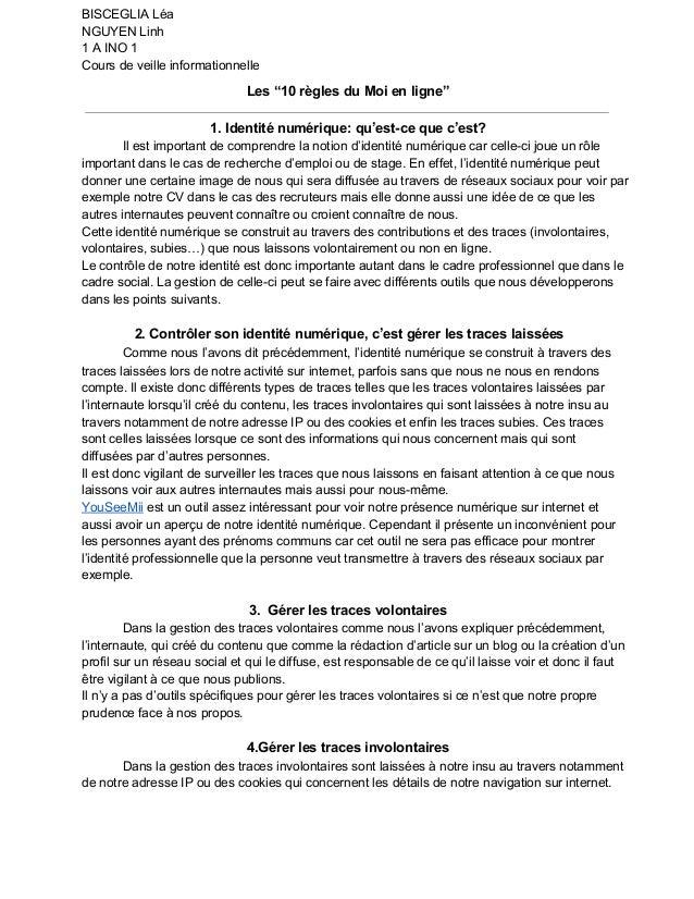 """BISCEGLIALéa NGUYENLinh 1AINO1 Coursdeveilleinformationnelle Les""""10règlesduMoienligne"""" 1.Identiténumérique..."""