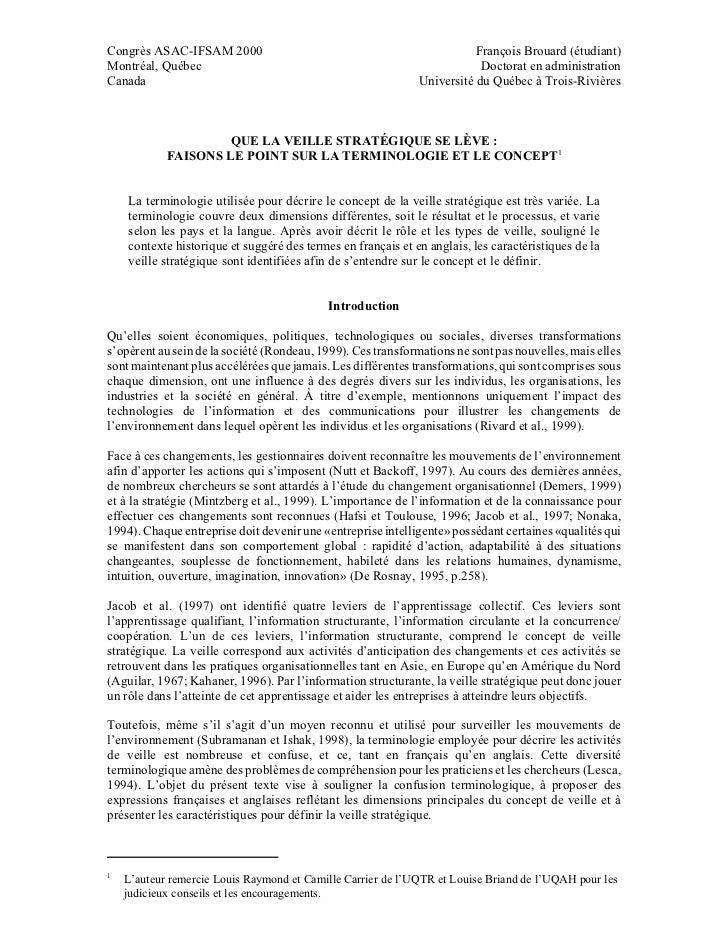 Congrès ASAC-IFSAM 2000                                                  François Brouard (étudiant)Montréal, Québec      ...
