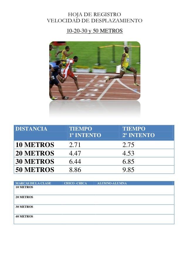HOJA DE REGISTRO VELOCIDAD DE DESPLAZAMIENTO 10-20-30 y 50 METROS  DISTANCIA  TIEMPO 1º INTENTO  TIEMPO 2º INTENTO  10 MET...