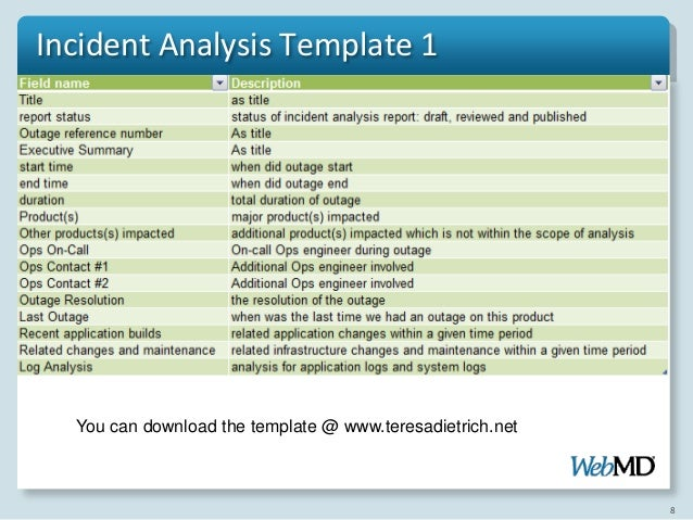 itil root cause analysis template - incident analysis procedure and approach