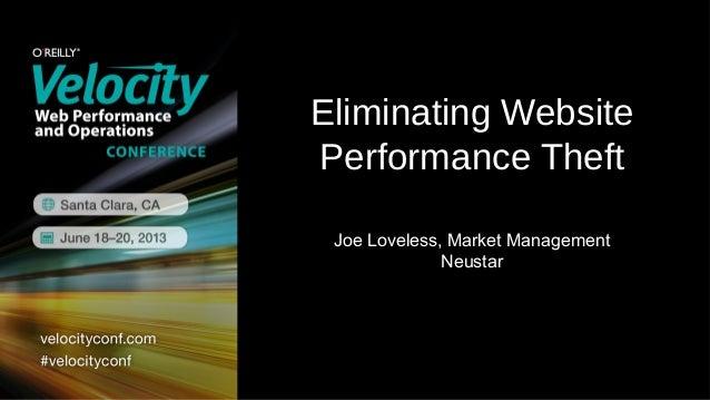 Eliminating WebsitePerformance TheftJoe Loveless, Market ManagementNeustar