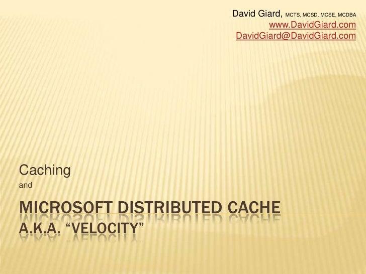 "Caching and Microsoft Distributed Cache (aka ""Velocity"")"