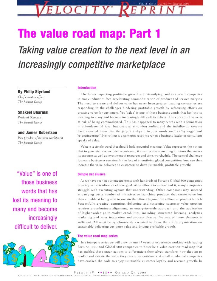 The value road map: Part 1   Taking value creation to the next level in an   increasingly competitive marketplace         ...