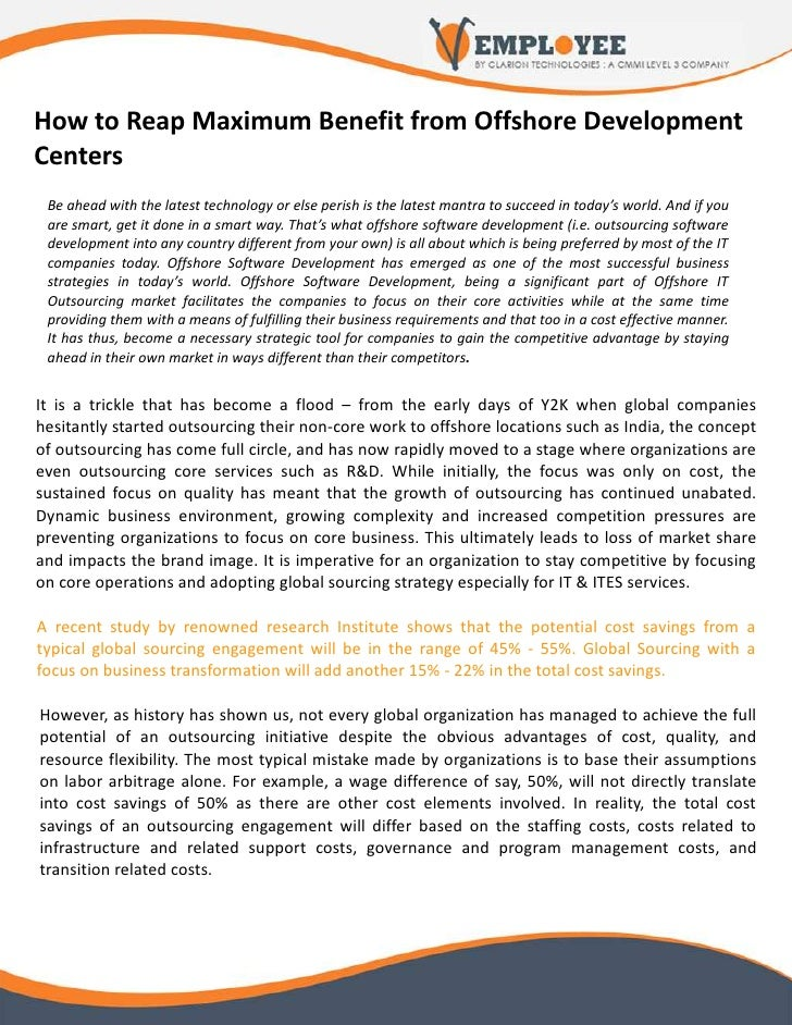 Benefits from Offshore Development Centers