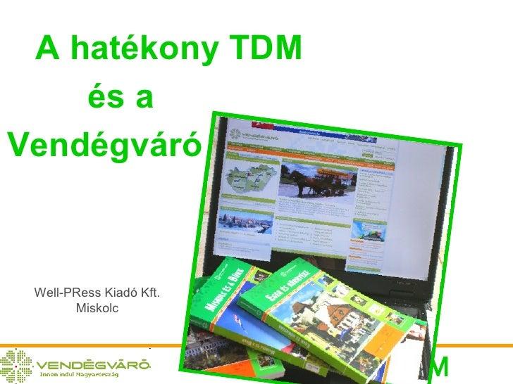 A hatékony TDM és a Vendégváró Well-PRess Kiadó Kft. Miskolc