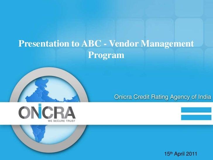 Onicra Vendor Rating
