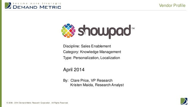 Vendor Profile April 2014 By: Clare Price, VP Research Kristen Maida, Research Analyst Discipline: Sales Enablement Catego...