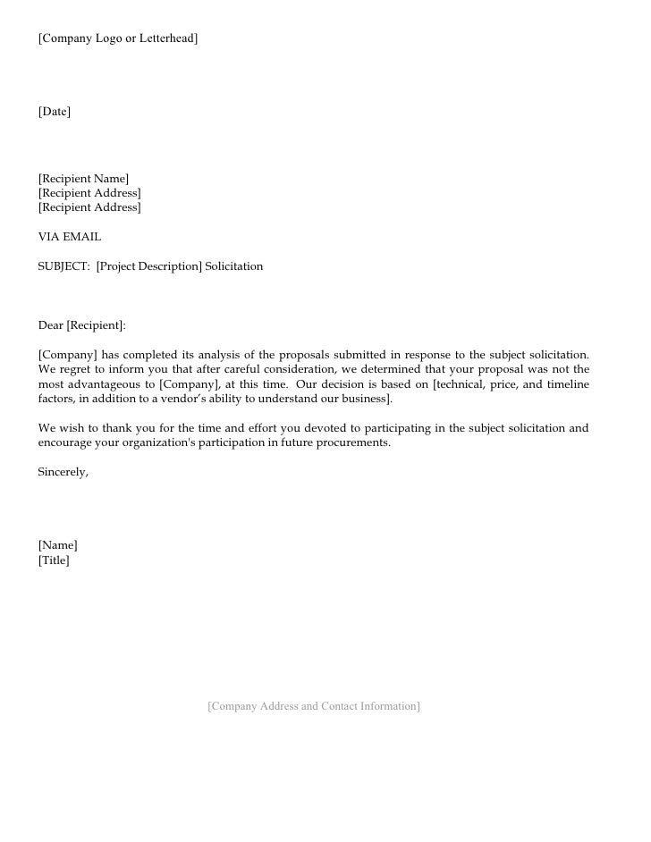 Business Letter Vendor Vendor rejection letter. [Company Logo or Letterhead] [Date] [Recipient Name] [Recipient Address