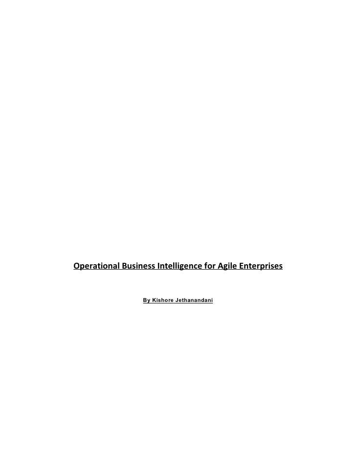 Vendor strategies: Operational Business Intelligence for Agile Enterprises