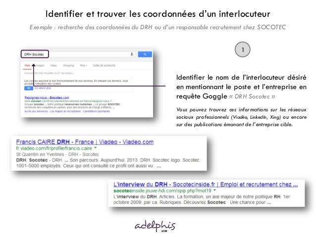 Identifier et trouver les coordonnées d'un interlocuteur Exemple : recherche des coordonnées du DRH ou d'un responsable re...
