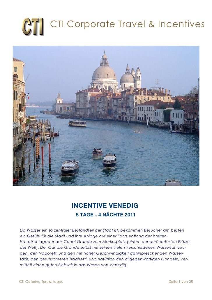 CTI Corporate Travel & Incentives                                  INCENTIVE VENEDIG                               5 TAGE ...