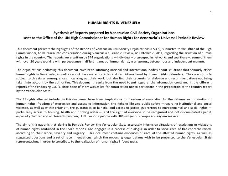 1                                                   HUMAN RIGHTS IN VENEZUELA                        Synthesis of Reports ...
