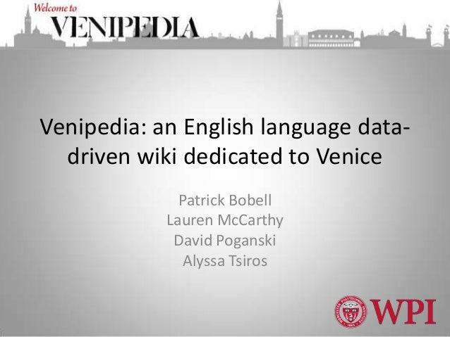 Venipedia an english language data-driven wiki dedicated to venice b12