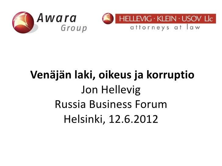 Venäjän laki oikeus ja  korruptio