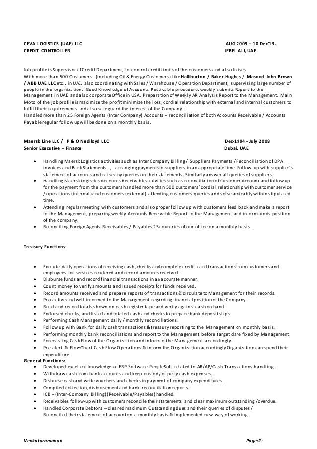 credit controller resume sample financial cv template business