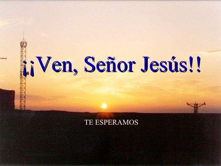 TE ESPERAMOS ¡¡Ven, Señor Jesús!!