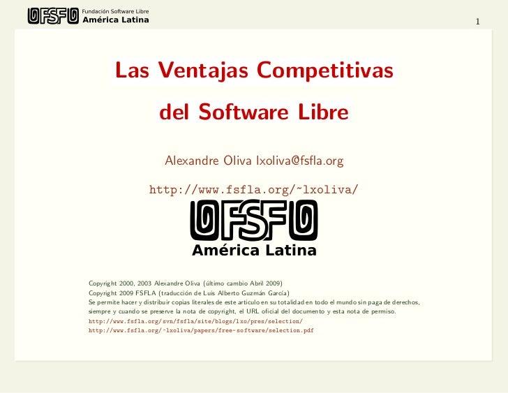 1         Las Ventajas Competitivas                         del Software Libre                           Alexandre Oliva l...