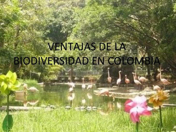 VENTAJAS DE LABIODIVERSIDAD EN COLOMBIA