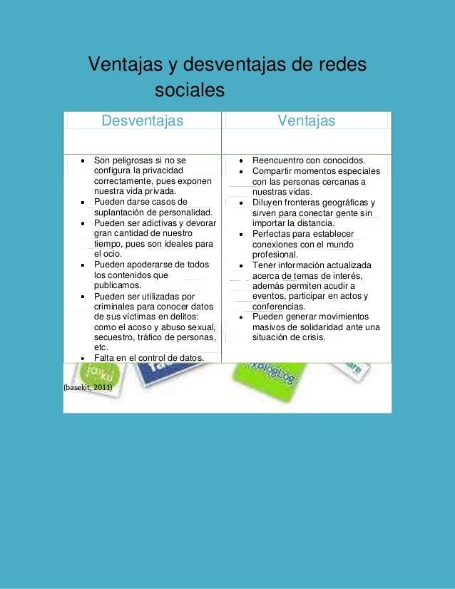 Ventajas y desventajas de redes sociales sociales Desventajas Ventajas Son peligrosas si no se configura la privacidad cor...