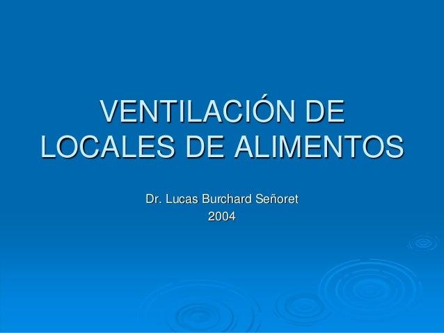 VENTILACIÓN DE LOCALES DE ALIMENTOS Dr. Lucas Burchard Señoret 2004