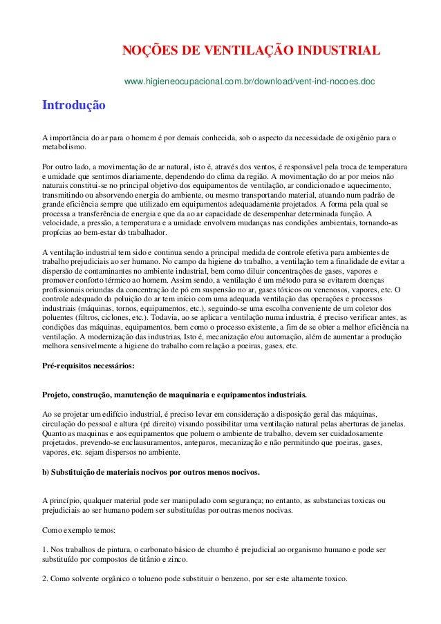 NOÇÕES DE VENTILAÇÃO INDUSTRIAL www.higieneocupacional.com.br/download/vent-ind-nocoes.doc  Introdução A importância do ar...