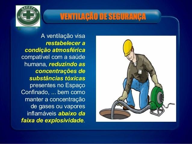 VENTILAÇÃO DE SEGURANÇA A ventilação visa restabelecer a condição atmosférica compatível com a saúde humana, reduzindo as ...