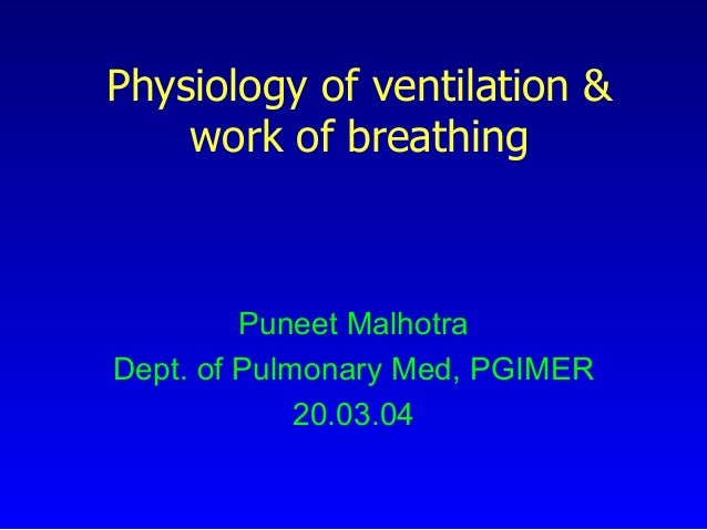 Physiology of ventilation & work of breathing  Puneet Malhotra Dept. of Pulmonary Med, PGIMER 20.03.04