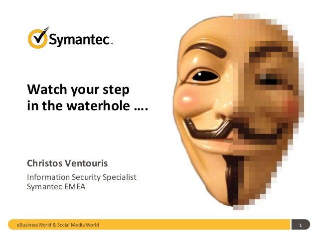 1Christos VentourisInformation Security SpecialistSymantec EMEAWatch your stepin the waterhole ….eBusinessWorld & Social M...