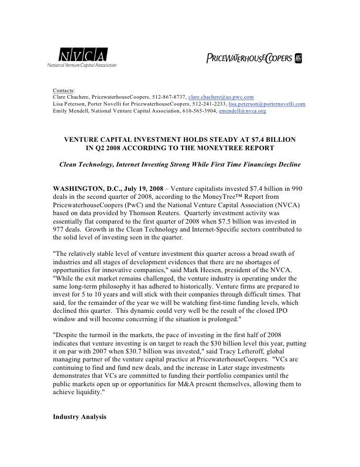 Venture Capital Investments Q2 2008 - MoneyTree Report
