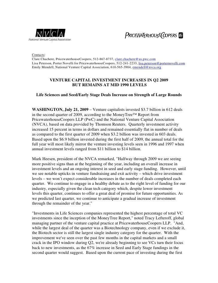 Venture Capital Investment Report Q2 2009