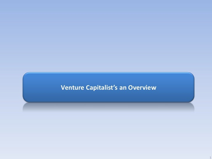 Venture Capitalist's an Overview                                   1