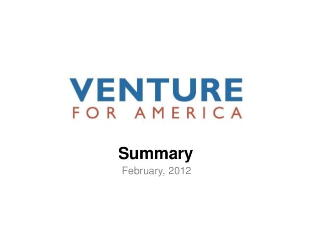 Venture for America Summary
