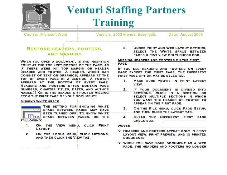 Venturi Staffing Partners                                Training  Course: Microsoft Word                   Version: 2003 ...