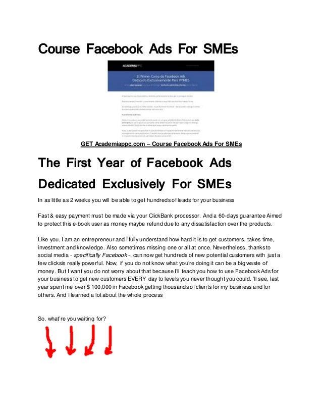 Course Facebook Ads For SMEs GET Academiappc.com – Course Facebook Ads For SMEs The First Year of Facebook Ads Dedicated E...