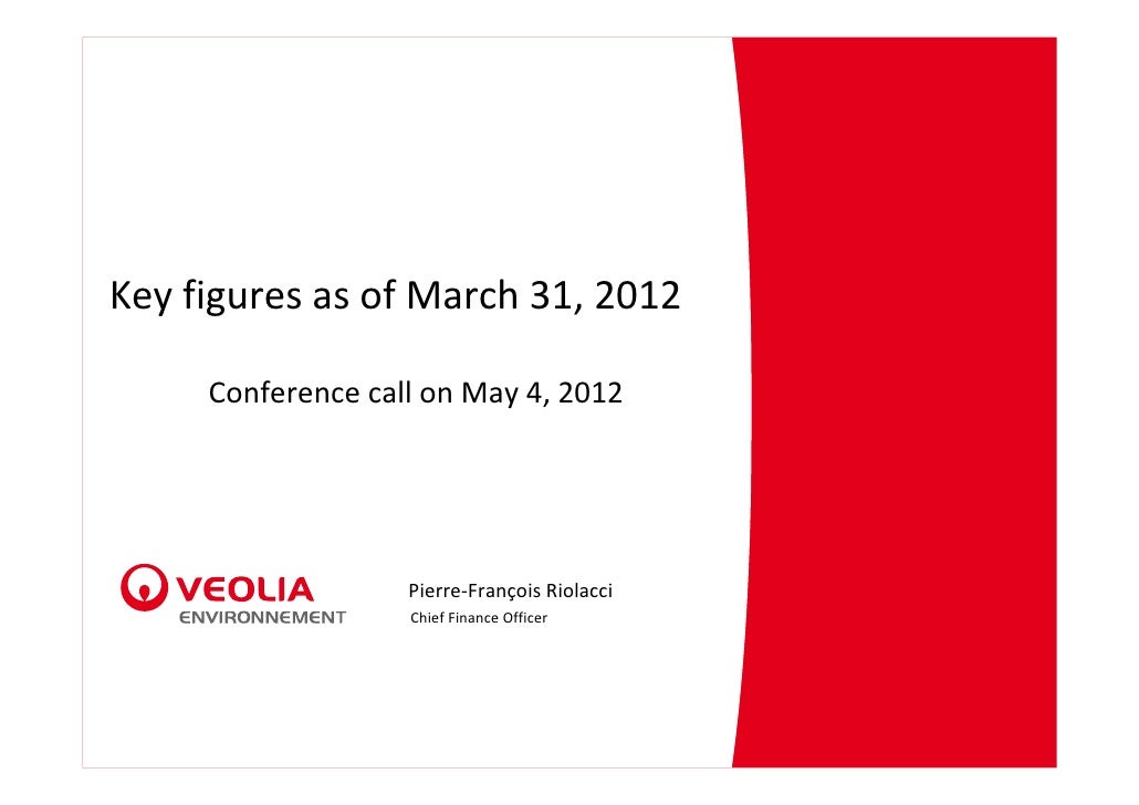Key figures as of March 31, 2012 - Conference call on May 4, 2012