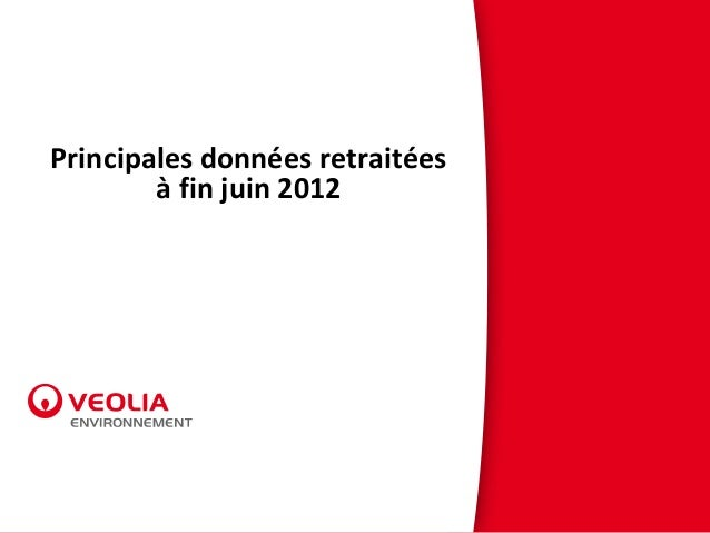 Principales données retraitées à fin juin 2012