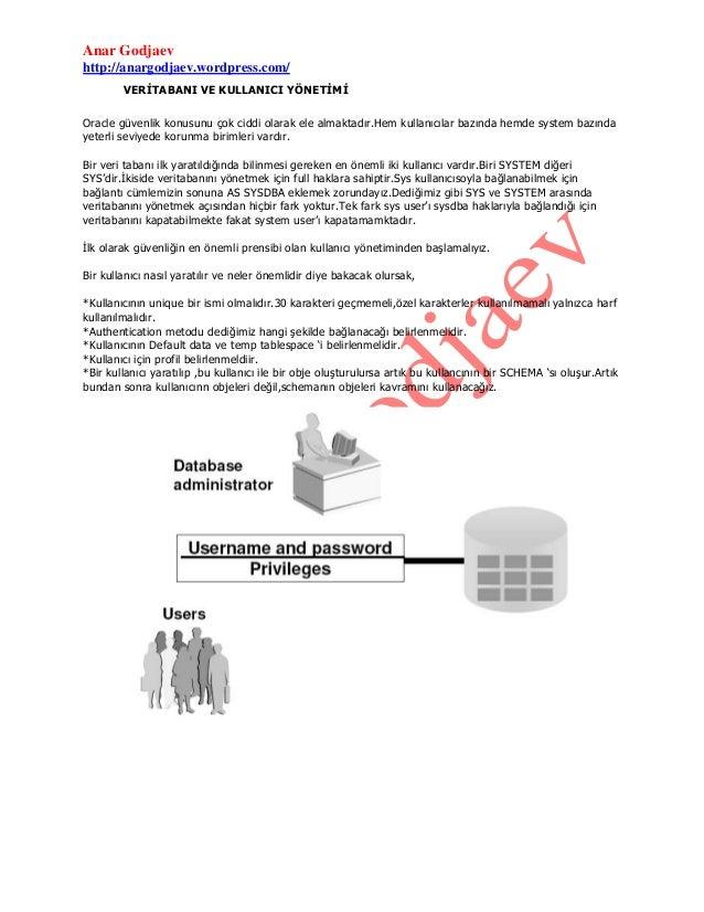 Anar Godjaev http://anargodjaev.wordpress.com/ VERİTABANI VE KULLANICI YÖNETİMİ Oracle güvenlik konusunu çok ciddi olarak ...
